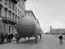 Airship during the defense of Leningrad rise into the sky over St. Petersburg